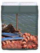 Ruddy Turnstones Perching On Fishing Nets Duvet Cover