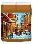Rue St Paul Montreal Streetscene Cafes And Caleche Duvet Cover