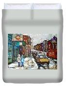 Achetez Les Petits Formats Scenes De Montreal St Viateur Bagel And Cola Truck Buy Montreal Painting  Duvet Cover