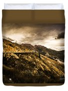 Rugged And Intense Mountain Background Duvet Cover