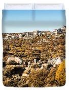 Rugged Mountain Town Duvet Cover