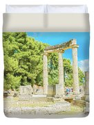 Ruin Of Philipp's Temple In Olympia, Greece Duvet Cover