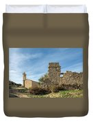 Ruined Building And Restored Church At Occi In Corsica Duvet Cover
