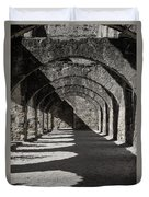Ruins Of San Jose-black And White Duvet Cover