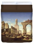 Ruins Of The Mosque Of The Caliph El Haken In Cairo Duvet Cover by Prosper Georges Antoine Marilhat