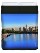 Runners, Joggers And Bikers Take An Early Morning Stroll On The The Boardwalk Trail Duvet Cover