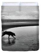 Running Dog Bw Duvet Cover