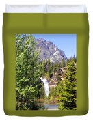 Running Eagle Falls Glacier National Park Duvet Cover