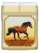 Running Horse - Evening Fire Duvet Cover