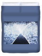 Running Water On Black Background Duvet Cover