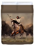 Running With Buffalo Duvet Cover