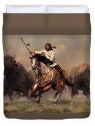 Running With Buffalo Duvet Cover by Daniel Eskridge