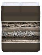 Running Zebras, Serengeti National Duvet Cover by Carson Ganci