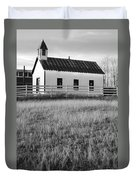 Rural Church Black And White Duvet Cover