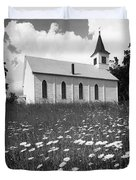 Rural Church In Field Of Daisies Duvet Cover