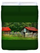 Rural Serenity - Red Roof Barn Rustic Country Rural Duvet Cover