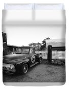 Russel Farms 1951 Ford F100 Black And White Duvet Cover