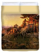 Russell Charles Marion Watching For Wagons Duvet Cover