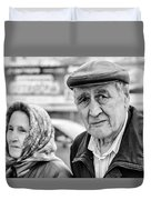 Russian Pensioners Looking At Camera Duvet Cover