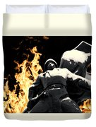 Russian Soldier Statue In Snow And Fire Duvet Cover