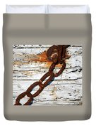 Rusted Chain On Driftwood Duvet Cover