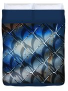Rusted Fence With Blue Paint Duvet Cover