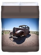 Rusted Old Car On Route 66 Duvet Cover