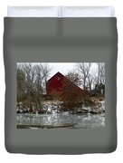 Rustic Barn By The Frozen Lake Duvet Cover