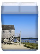 Rustic Boathouse On The Beach. Duvet Cover
