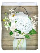 Rustic Country White Hydrangea N Matillija Poppy Mason Jar Bouquet On Wooden Fence Duvet Cover