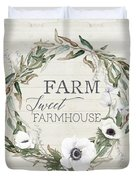 Rustic Farm Sweet Farmhouse Shiplap Wood Boho Eucalyptus Wreath N Anemone Floral 2 Duvet Cover