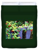 Rustic Fence And Wild Rosehips Duvet Cover