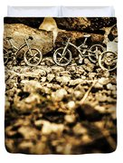 Rustic Mountain Bikes Duvet Cover