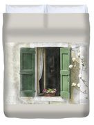 Rustic Open Window With Green Shutters Duvet Cover