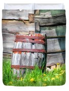 Rustic Rain Barrel At Old World Wisconsin Duvet Cover
