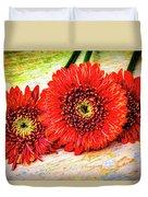 Rustic Red Dasies Duvet Cover