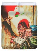 Rustic Red Xmas Stocking Duvet Cover