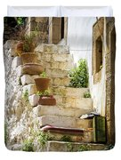 Rustic Steps In Crete Duvet Cover