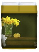 Rustic Still Life With Daffodils Duvet Cover