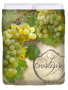 Rustic Vineyard - Chardonnay White Wine Grapes Vintage Style Duvet Cover