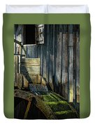 Rustic Water Wheel With Moss Duvet Cover