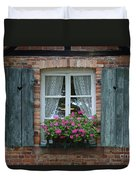 Rustic Window And Red Bricks Wall Duvet Cover by Yair Karelic