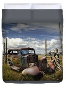Rusty Auto Wreck Out West Duvet Cover