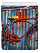 Rusty Bike With Lights Duvet Cover