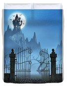 Rusty Gate And A Spooky Dark Castle Duvet Cover