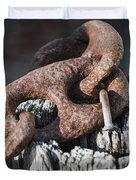 Rusty Iron Chain Railing Fragment Duvet Cover