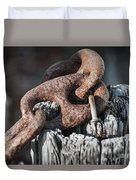 Rusty Iron Chain Railing Fragment Duvet Cover