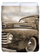 Rusty Jewel In Sepia - 1948 Ford Duvet Cover