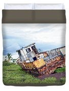 Rusty Retired Fishing Boat Duvet Cover