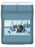 Saami Family At The Hut Duvet Cover
